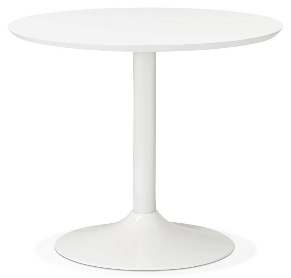 Aprica Small Round Dining Table - White and Painted Steel