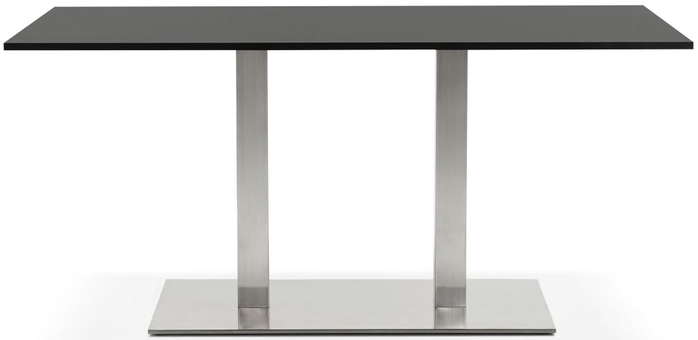 Arrone Dining Table - Black and Brushed Steel