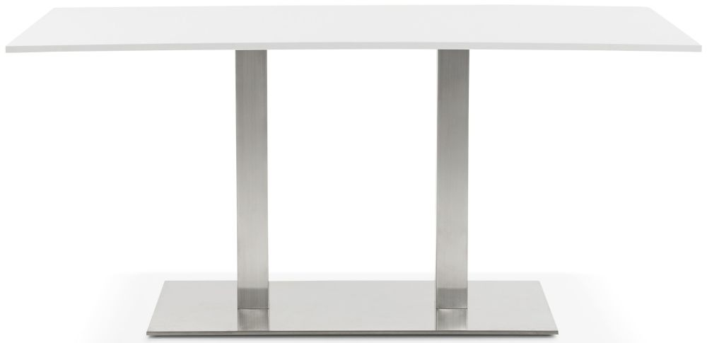 Arrone Dining Table - White and Brushed Steel