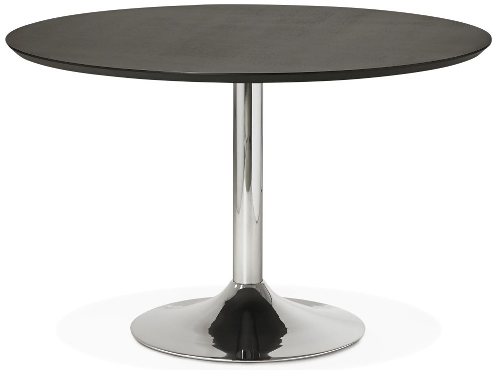 Blea Large Round Dining Table - Black and Stainless Steel