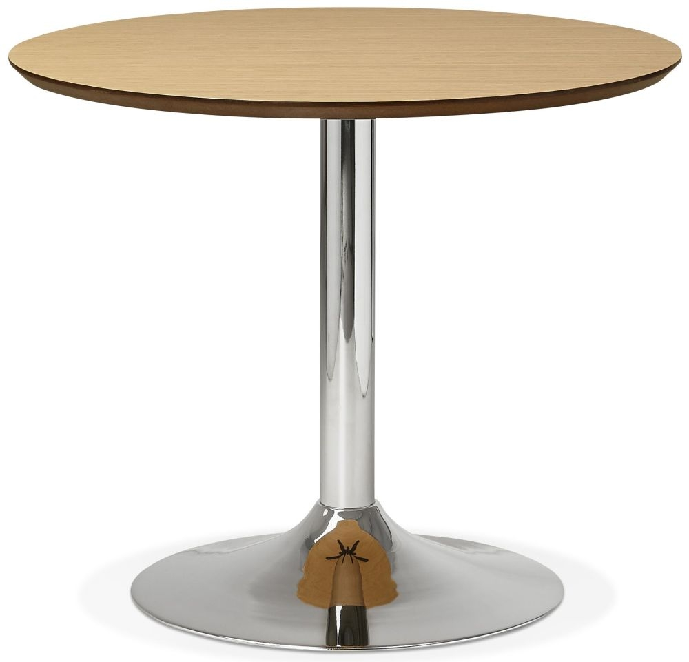 Blea Small Round Dining Table - Natural and Stainless Steel