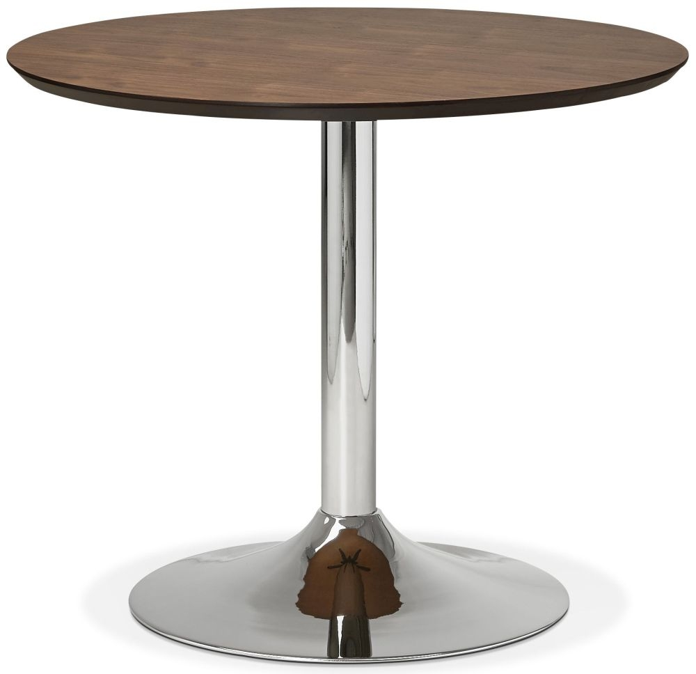 Blea Small Round Dining Table - Walnut and Stainless Steel