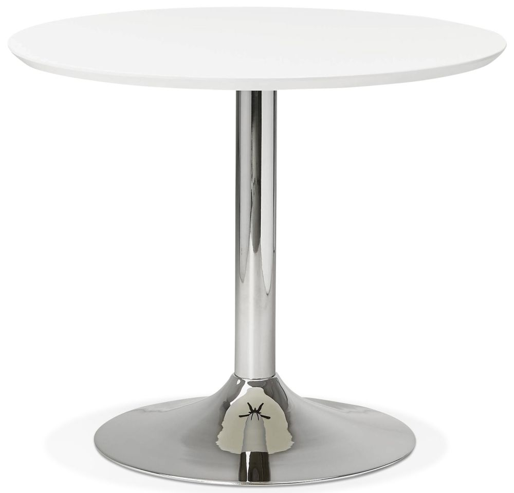 Blea Small Round Dining Table - White and Stainless Steel