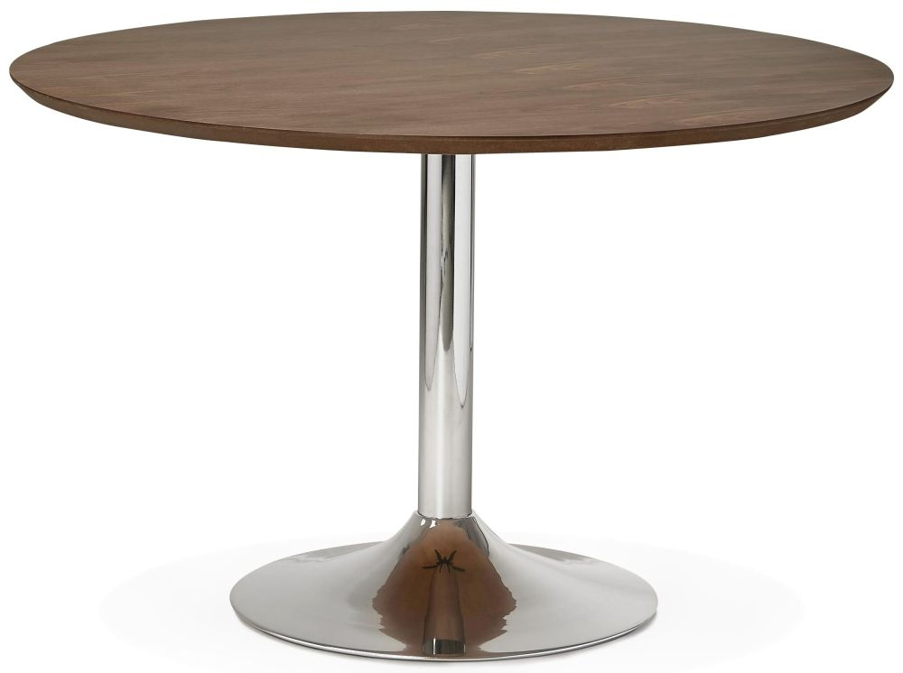 Blea Large Round Dining Table - Walnut and Stainless Steel