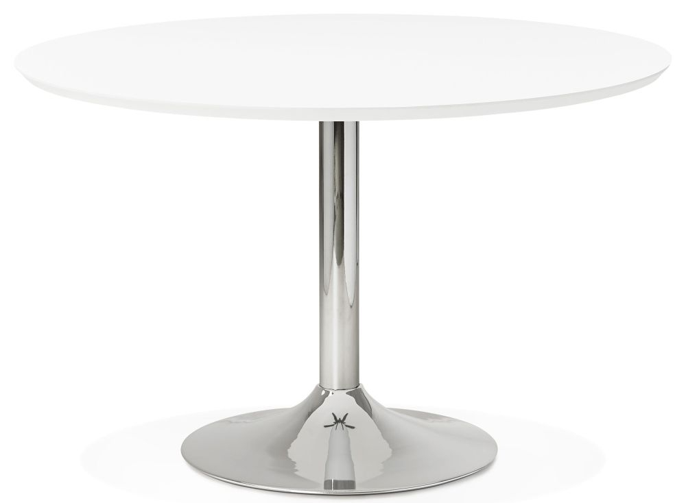 Blea Large Round Dining Table - White and Stainless Steel