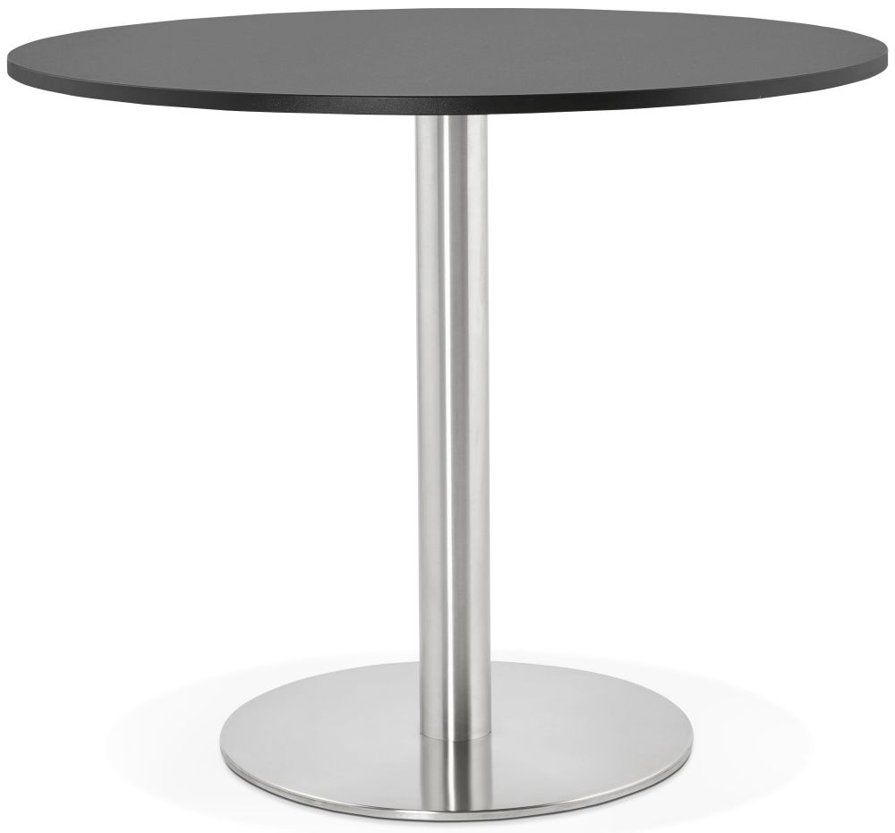Claife Round Dining Table - Black and Brushed Steel