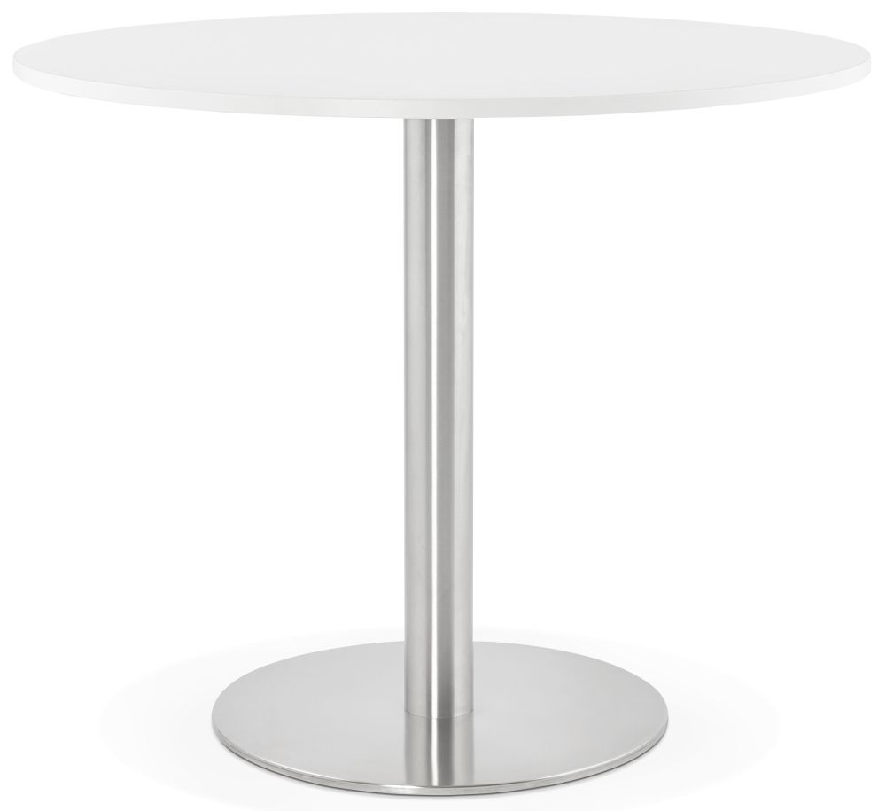 Claife Round Dining Table - White and Brushed Steel