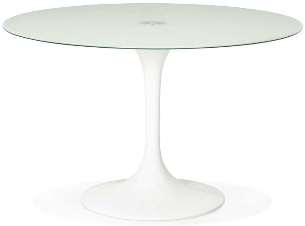 Darin Round Dining Table - Glass and White Painted Steel