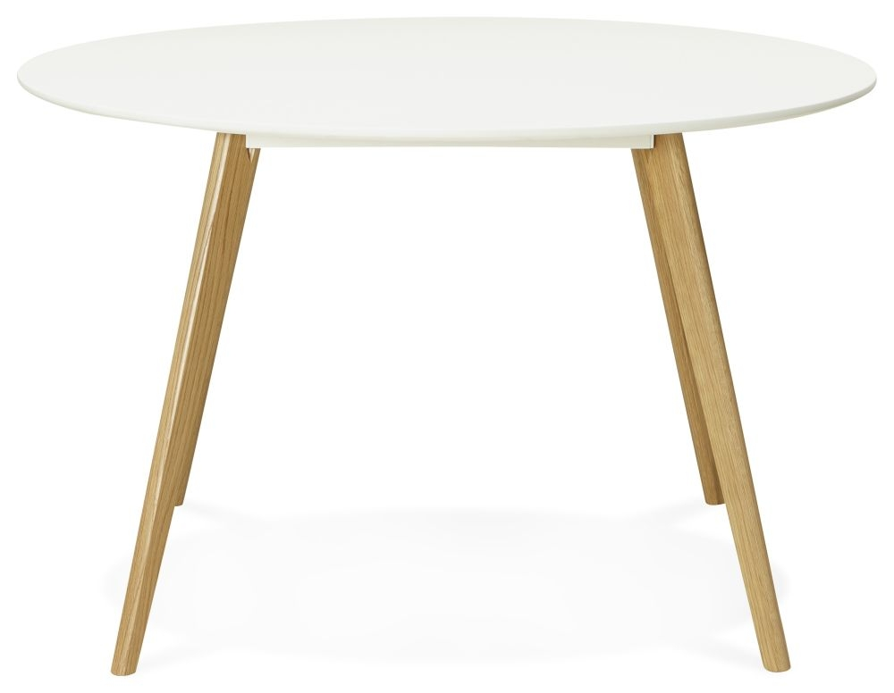 Dean Round Dining Table - White Painted and Oak