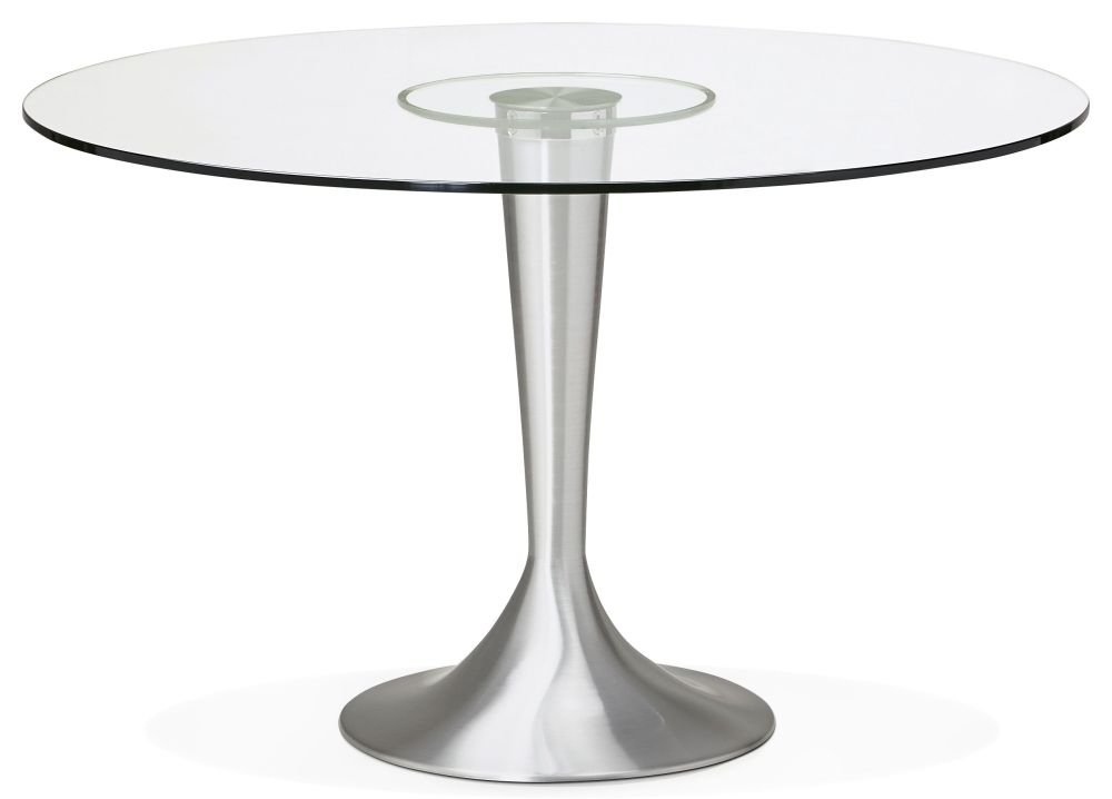 Ealga Round Dining Table - Glass and Aluminium