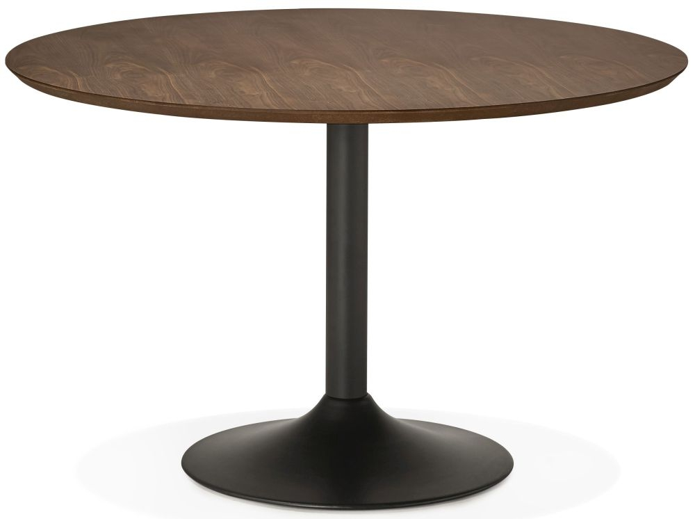 Fairlawns Large Round Dining Table - Walnut and Painted Steel