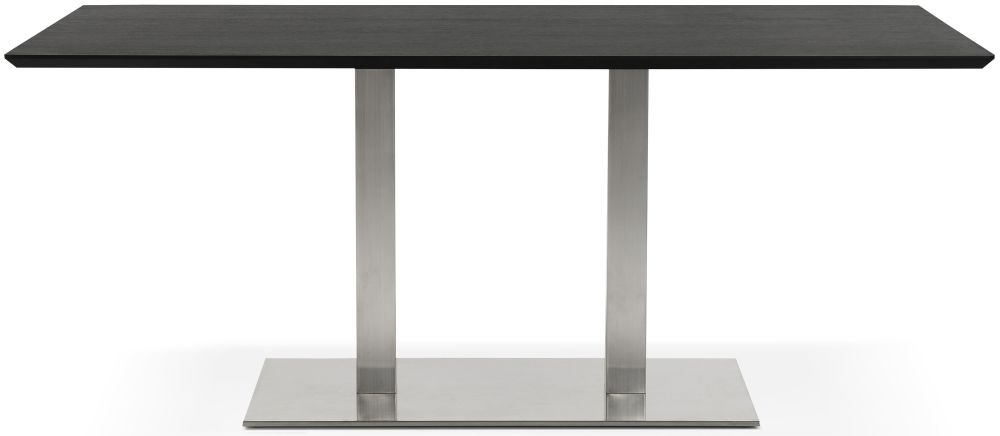 Finsbury Large Dining Table - Black and Brushed Steel