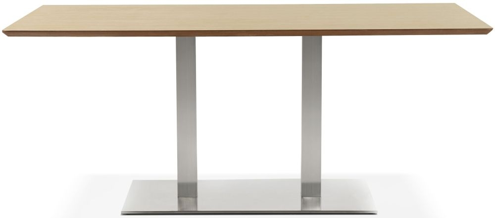 Finsbury Large Dining Table - Natural and Brushed Steel