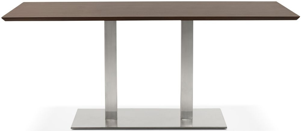 Finsbury Large Dining Table - Walnut and Brushed Steel