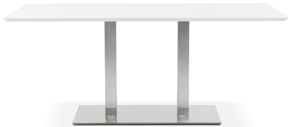 Finsbury Large Dining Table - White and Brushed Steel