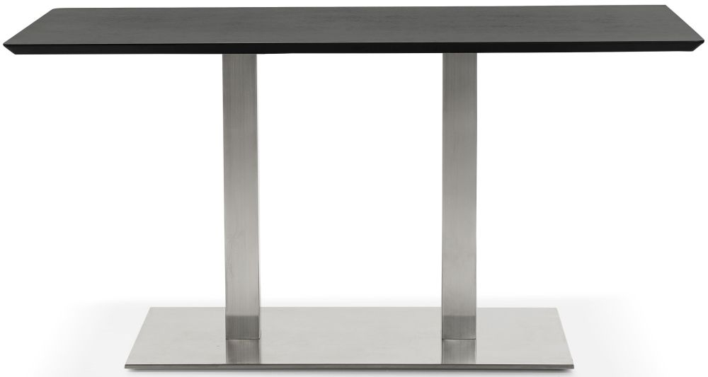 Finsbury Small Dining Table - Black and Brushed Steel