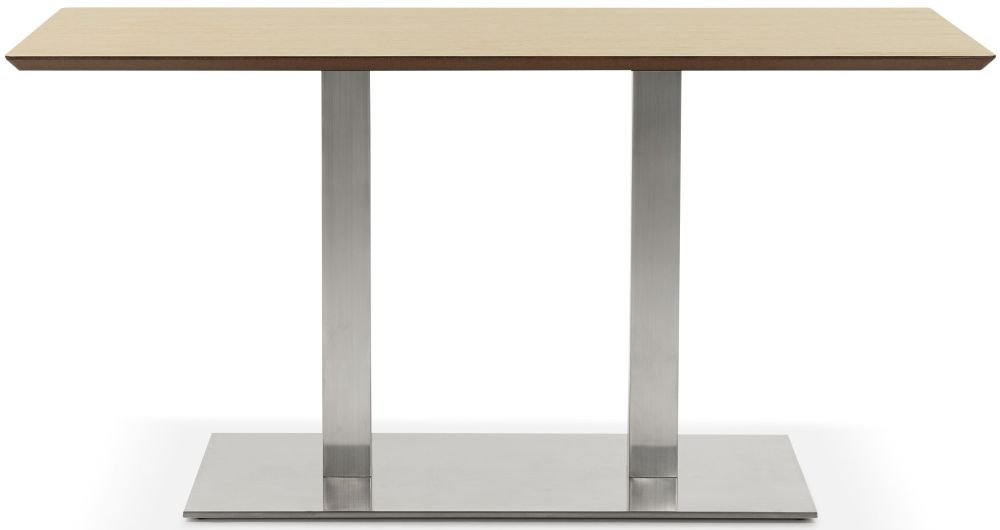 Finsbury Small Dining Table - Natural and Brushed Steel