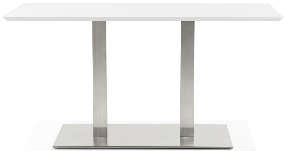 Finsbury Small Dining Table - White and Brushed Steel