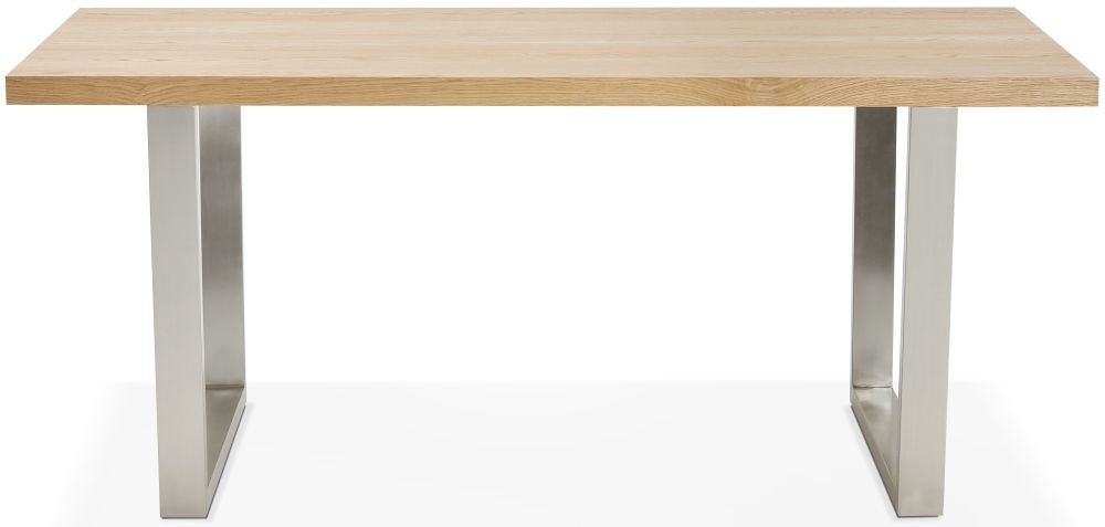 Giness Dining Table - Natural and Brushed Steel