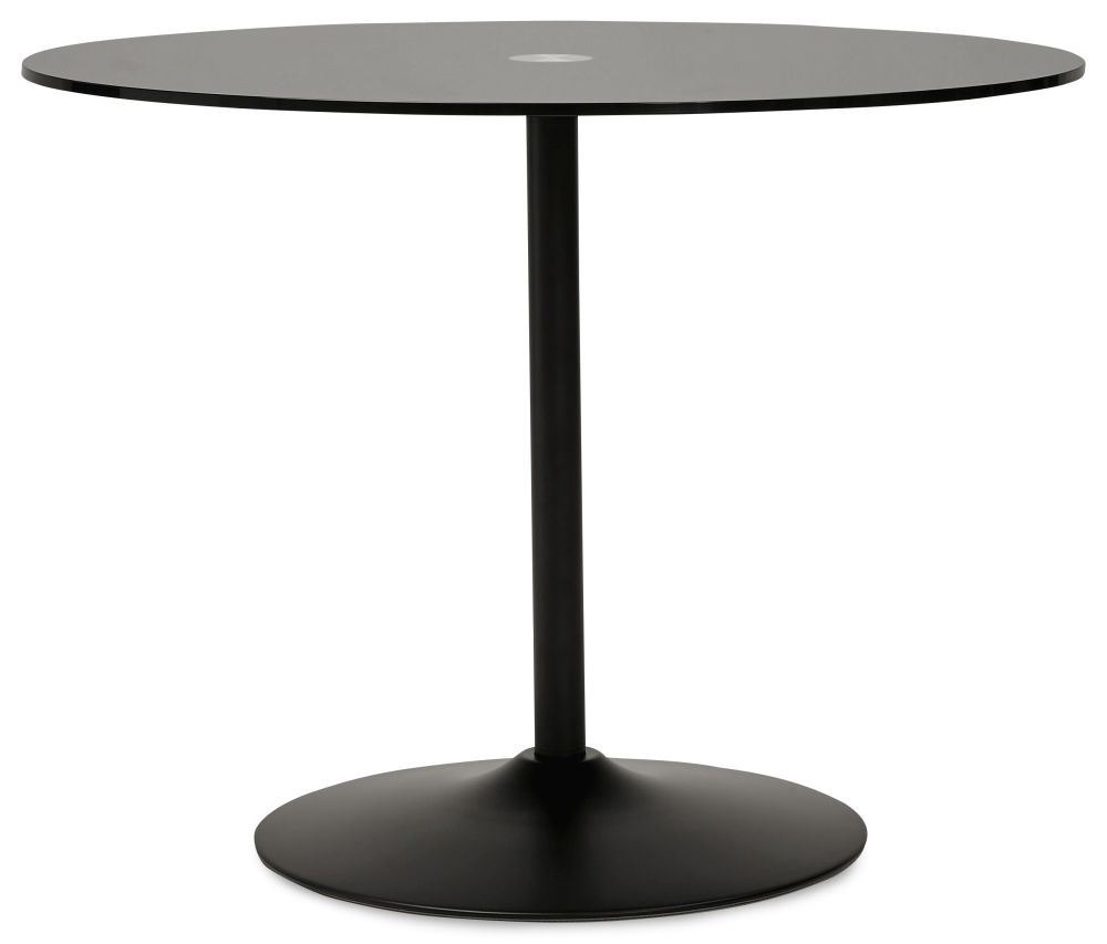 Kariba Round Dining Table - Glass and Black Painted Steel