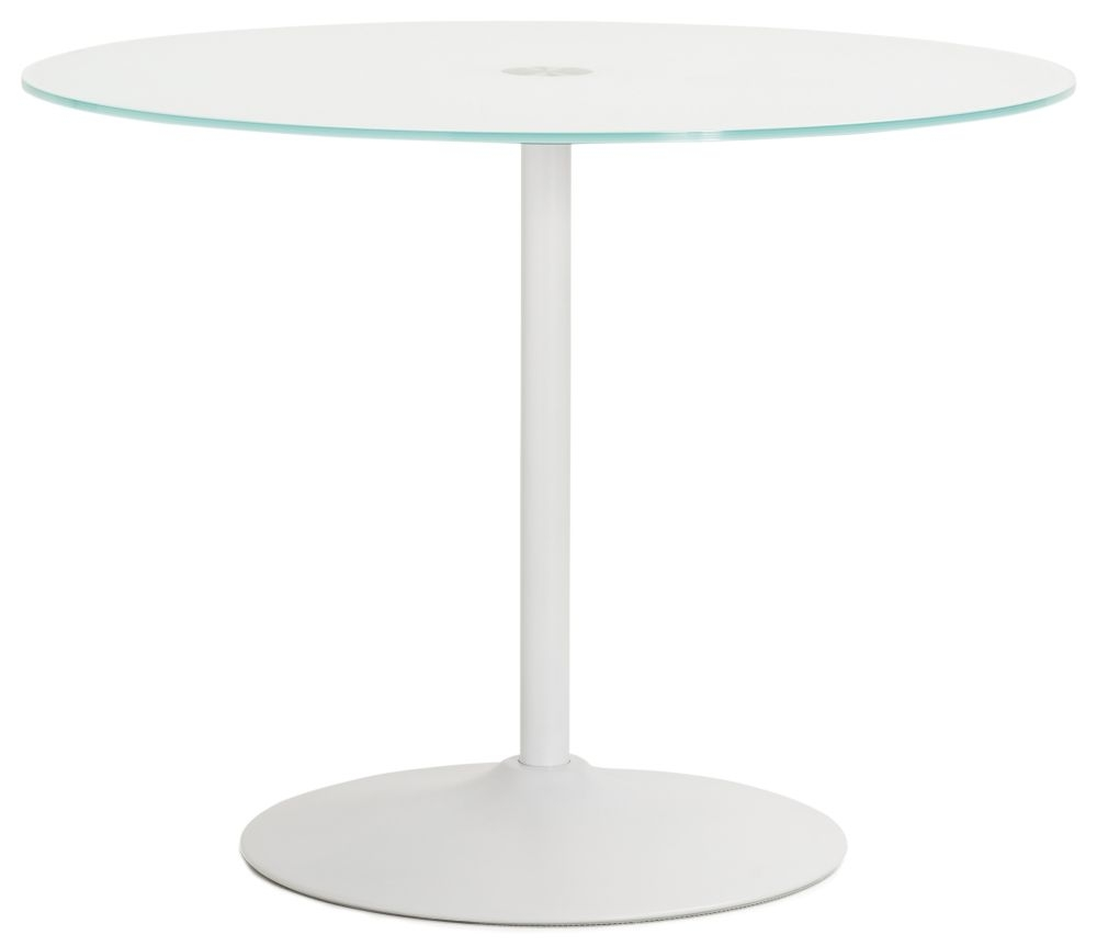 Kariba Round Dining Table - Glass and White Painted Steel