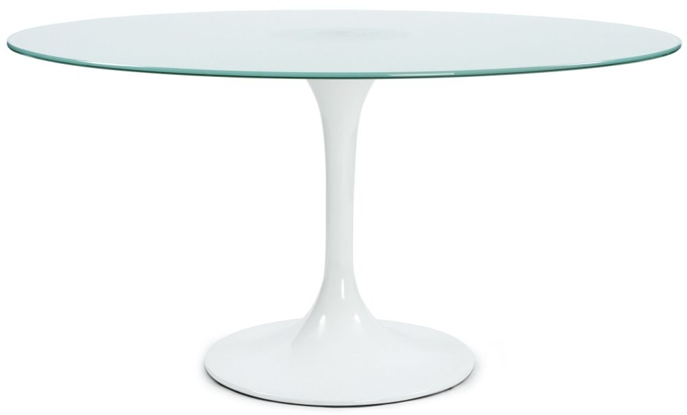 Macy Round Dining Table - Glass and White Painted