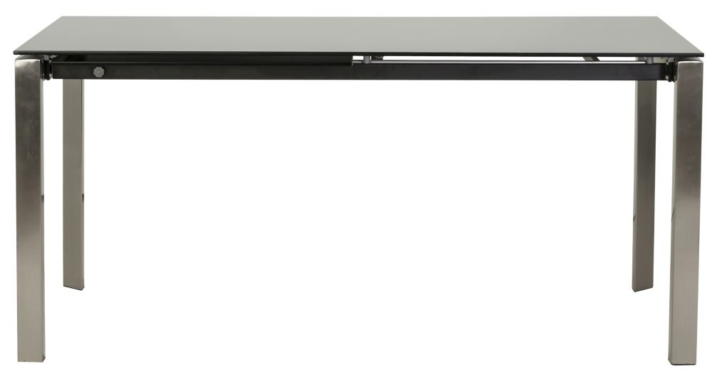 Maive Extending Dining Table - Black Glass and Stainless Steel