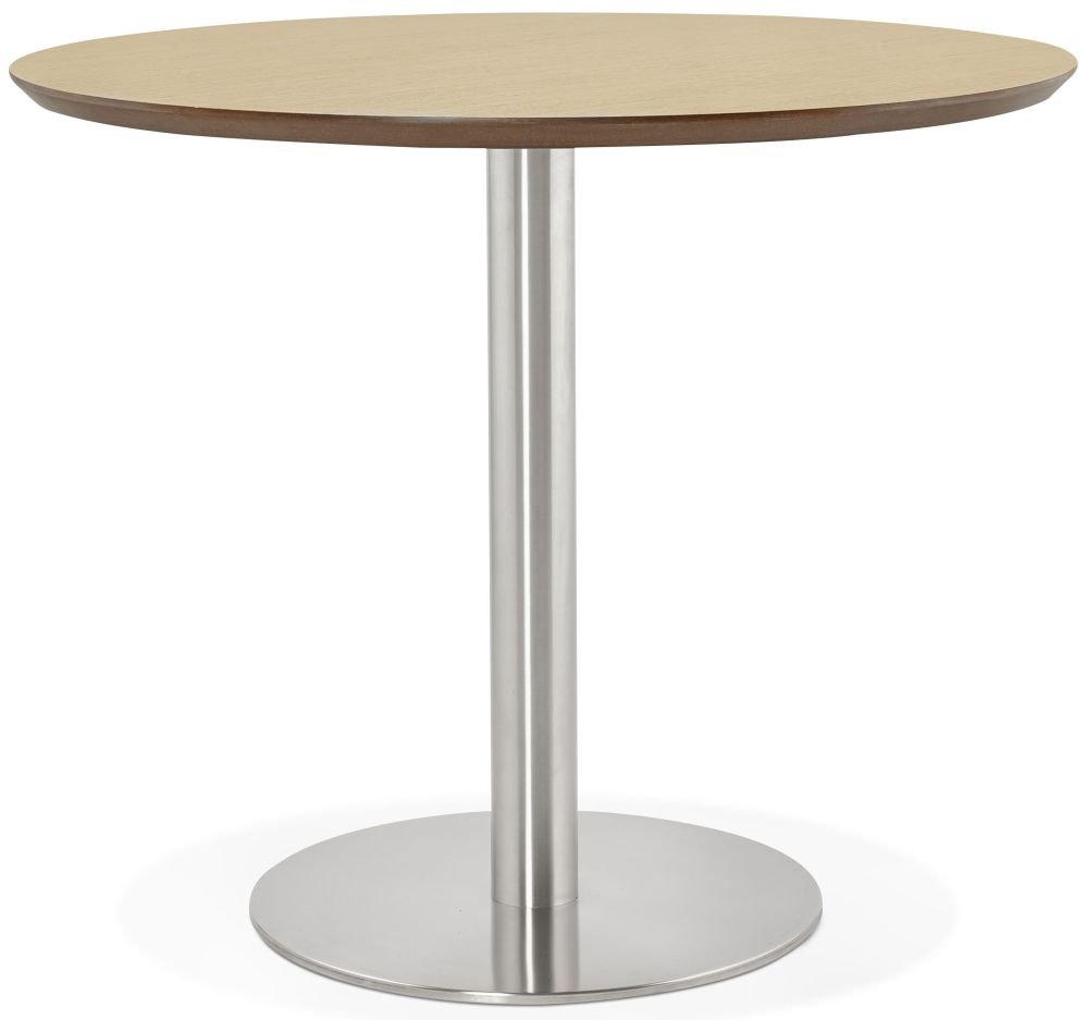 Morar Round Dining Table - Natural and Brushed Steel