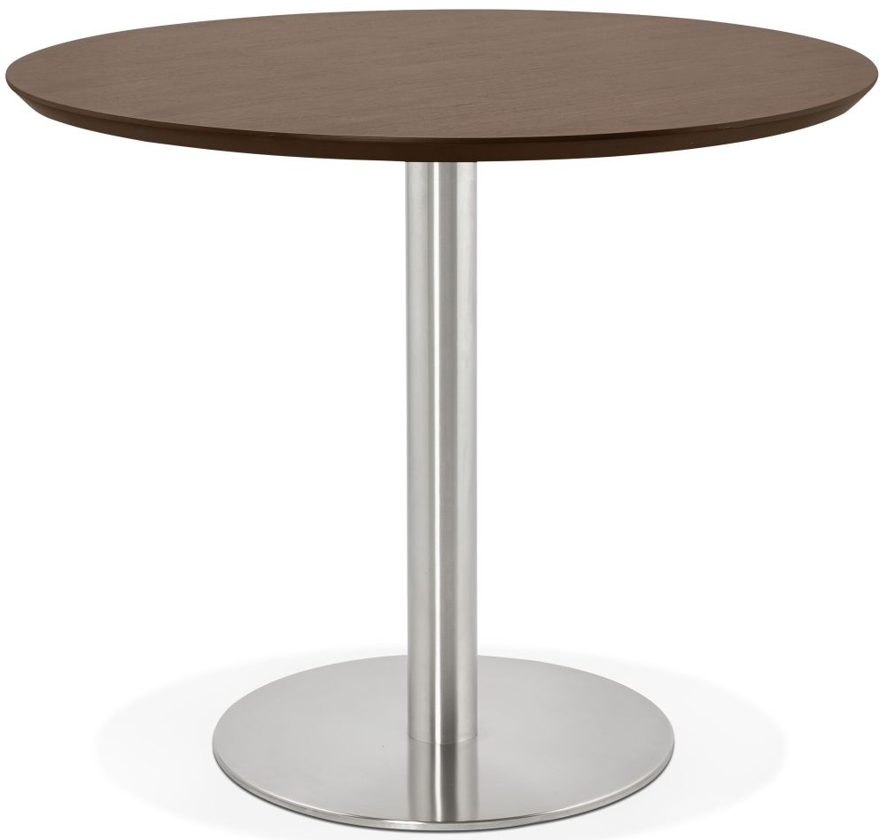 Morar Round Dining Table - Walnut and Brushed Steel