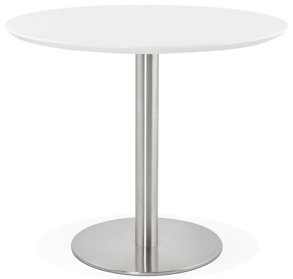 Morar Round Dining Table - White and Brushed Steel