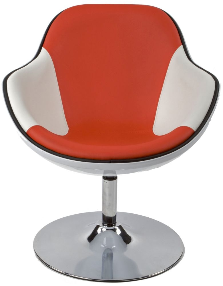 Amblar Faux Leather Chair - White and Red
