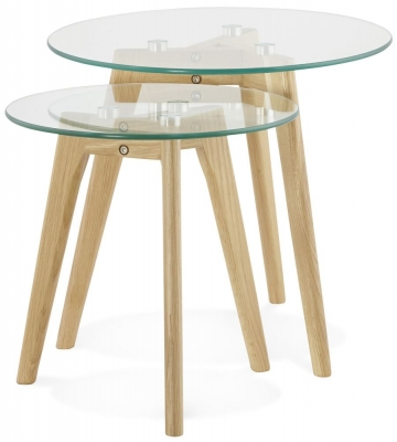Salle Nest of Tables - Glass and Oak