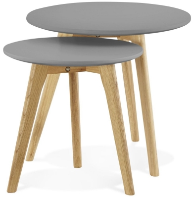 Wallasey Nest of Tables - Dark Grey and Oak