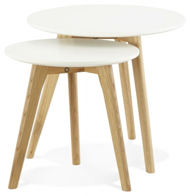 Wallasey Nest of Tables - White and Oak