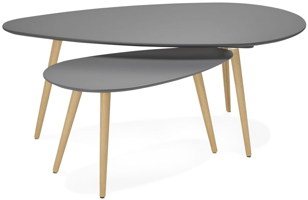 Dinard Nest of Coffee Tables - Dark Grey and Oak