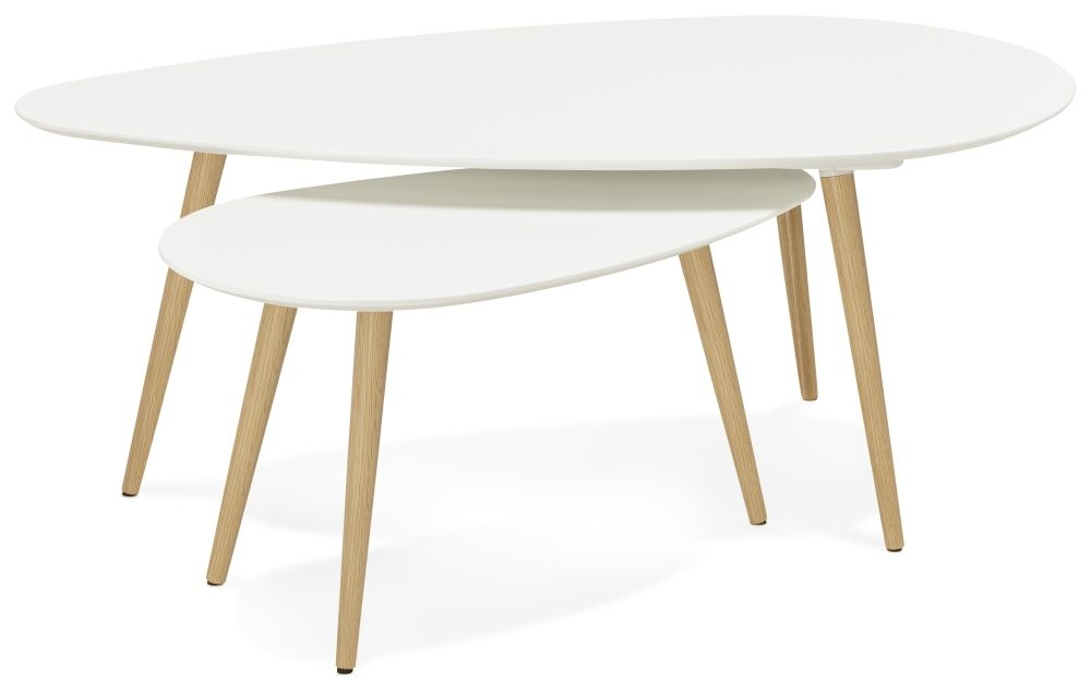 Dinard Nest of Coffee Tables - White and Oak