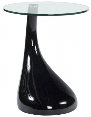 Gabor Round Side Table - Glass and Black