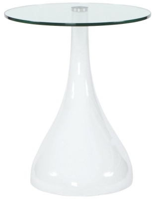 Gabor Round Side Table - Glass and White