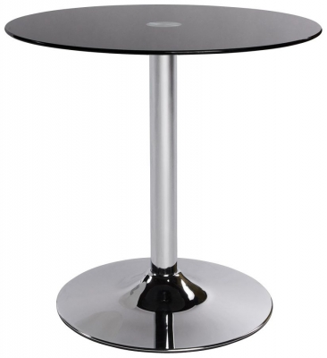 Gallane Round Side Table - Black Glass and Stainless Steel