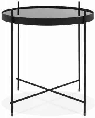 Volterra Mini Round Side Table - Glass and Black