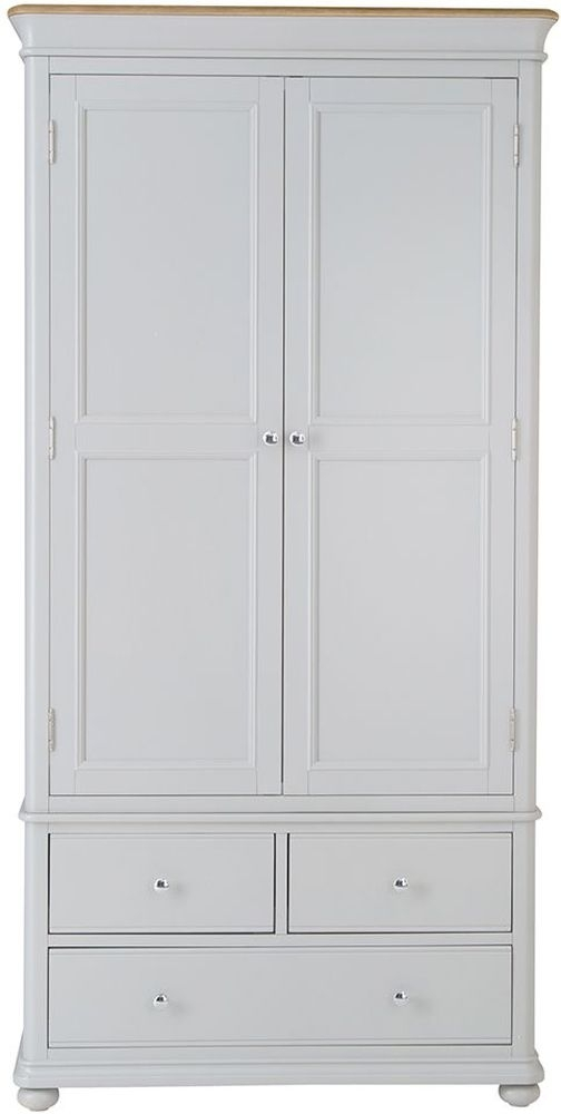 Annecy 2 Door 3 Drawer Wardrobe - Oak and Soft Grey Painted