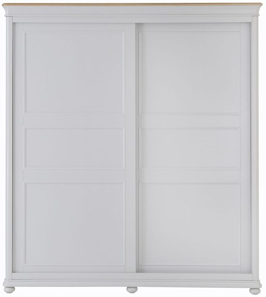 Annecy Sliding 2 Door Wardrobe - Oak and Soft Grey Painted