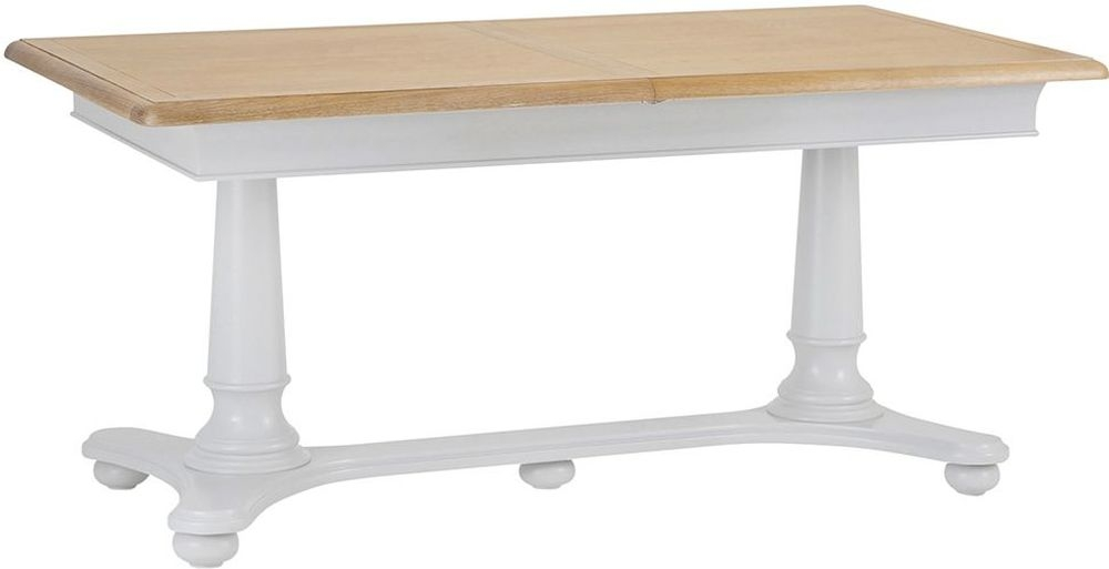 Annecy Medium Extending Dining Table - Oak and Soft Grey Painted