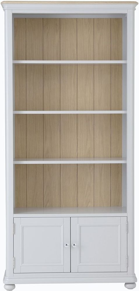 Annecy Tall Bookcase - Oak and Soft Grey Painted