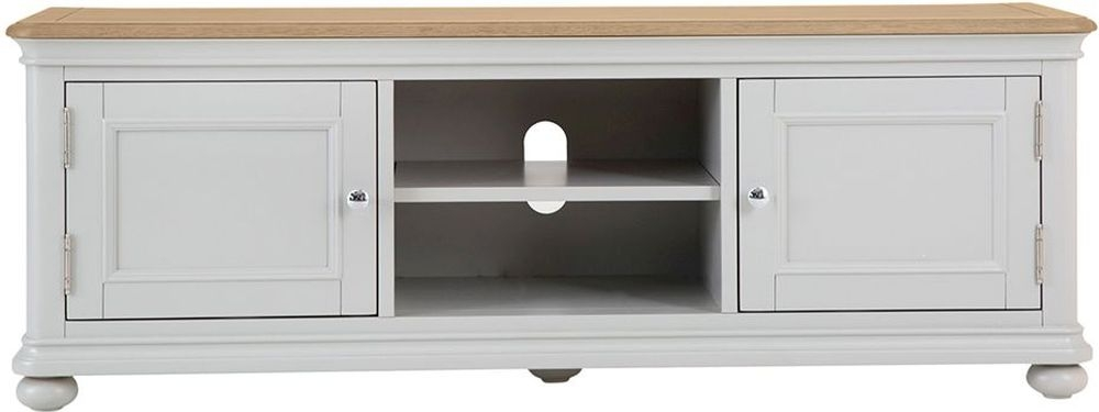 Annecy TV Unit - Oak and Soft Grey Painted