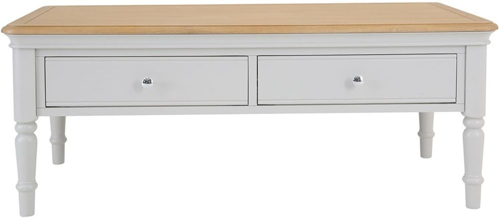 Annecy Storage Coffee Table - Oak and Soft Grey Painted