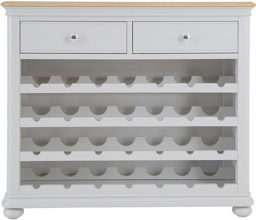 Annecy Wine Cabinet - Oak and Soft Grey Painted