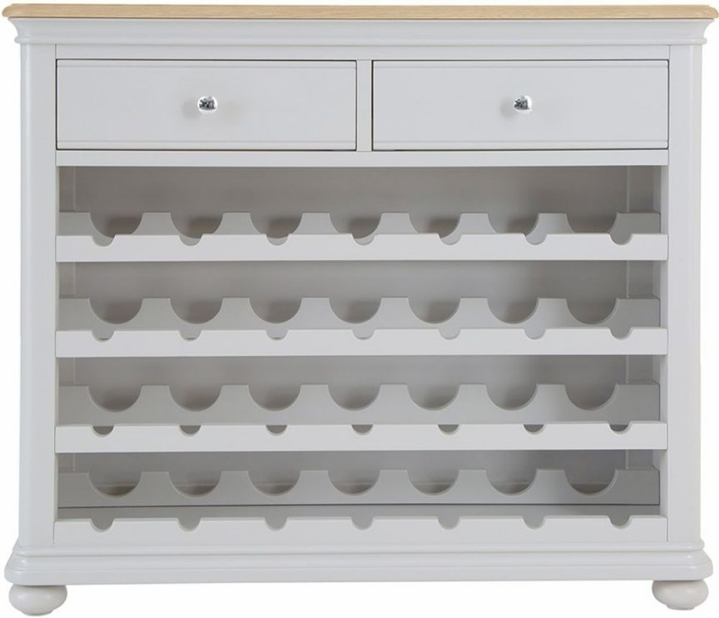 Annecy Oak and Soft Grey Painted 2 Drawer Wine Cabinet