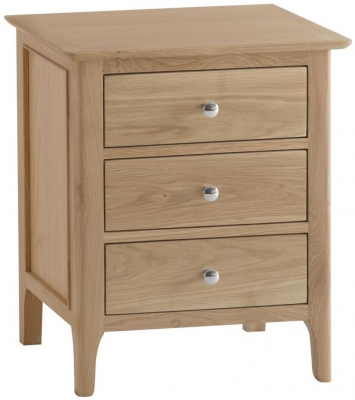Appleby Oak 3 Drawer Wide Bedside Cabinet