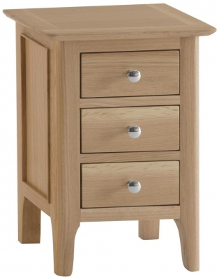 Appleby Oak 3 Drawer Narrow Bedside Cabinet